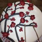 10 inch round fondant covered cake with gum paste flowers and accents. serves 38