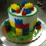 6 inch cake buttercream with fondant legos. serves 12
