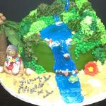 10 inch Hawaii cake. Aerial viewvoh Hawaii. Fondant accents. serves 38